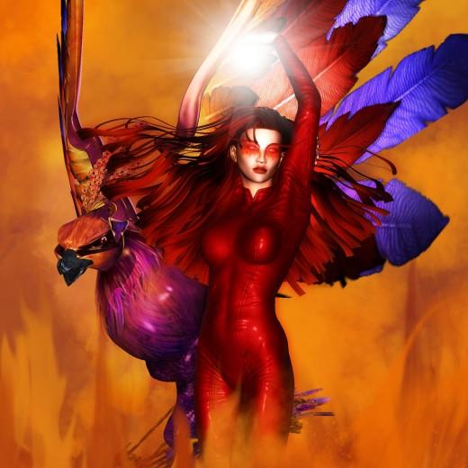 Primer plano de la Diosa del Fuego con una bola mágica de luz blanca en sus manos. Fénix a la izquierda
