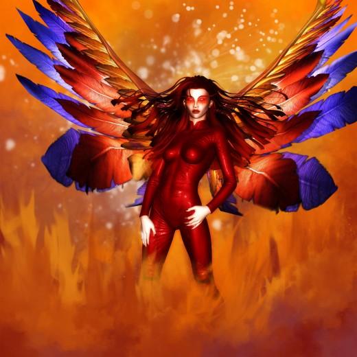 Diosa del Fuego de pie con coloridas alas de Fénix brotando de su espalda