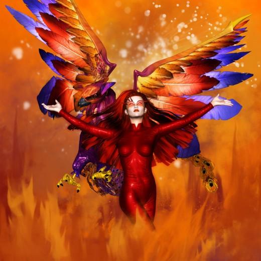 Diosa del Fuego con los brazos abiertos en una atractiva pose. Phoenix volando hacia abajo y mirando hacia la izquierda