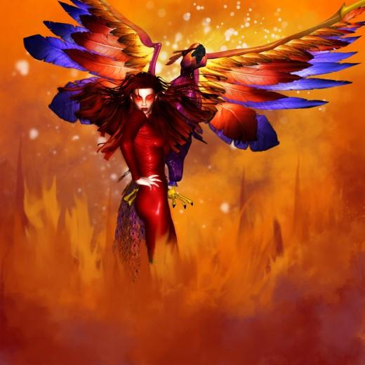 Phoenix Queen haciendo una pose con las manos en las caderas y su Phoenix volando hacia arriba.