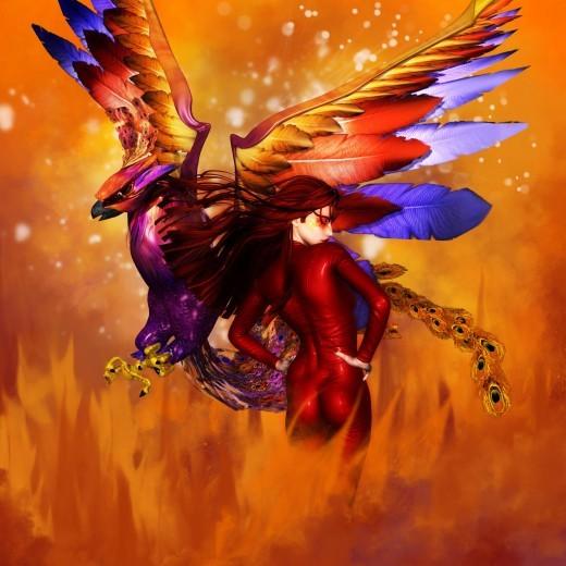 La Diosa del Fuego giró a la derecha, el Fénix volador giró a la izquierda. Ambas figuras están espalda con espalda sobre un fondo de fuego
